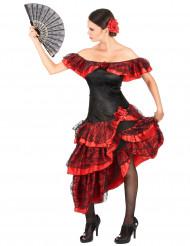 Kostym i rött och svart med inspiration från Andalusien