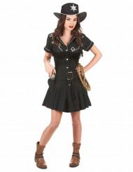 Svart cowgirl-dräkt klänning vuxen