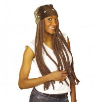 Rasta peruk för vuxna med brun bandana