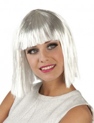 Peruk med kort vitt hår