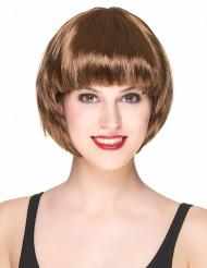 Peruk med kort brunt hår