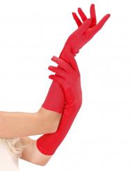 Långa röda handskar för vuxna