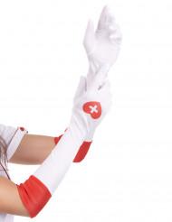 Handskar långa vita sjuksköterska
