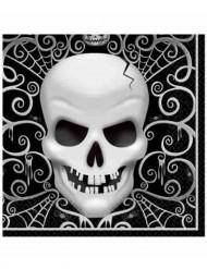 16 servetter med dödskalletryck - Halloweendukning