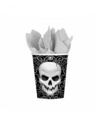 8 muggar med dödskalle - Halloweendukning