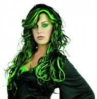 Peruk som är svart och grön