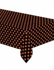 Svart plastduk med orangea prickar 137 x 274 cm