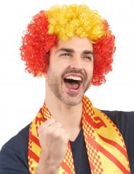 Röd-gul supporterperuk för vuxna
