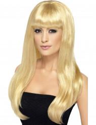 Peruk lång blond med lugg