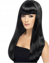 Lång svart peruk med lugg