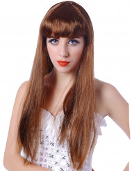 Lång brun peruk med lugg