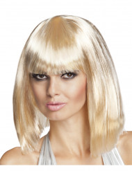Peruk lång page blond med lugg