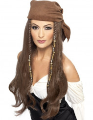 Piratperuk lång brun