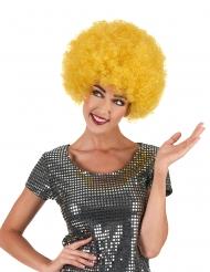 Bekväm gul Discoperuk med afro för vuxen