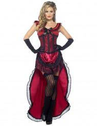 Maskeraddräkt saloongirl röd