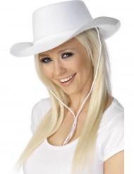 Vit Cowboyhatt i vuxen storlek