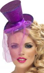Lila mini-cylinderhatt