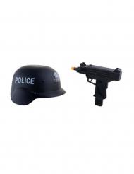 Militärkit hjälm och vapen i plast