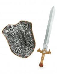 Kit för medeltida riddare sköld och svärd barn