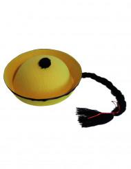 Asiatisk gul mössa med fläta