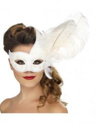 Venetiansk mask, vit med vita fjädrar, vuxenstorlek