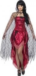 Vit cape med blodfläckar dam Halloween