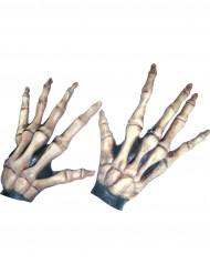 Korta skeletthandskar för vuxna till Halloween