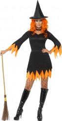 Svart-orange häxa - utklädnad vuxen Halloween