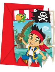 6 inbjudningskort från Jake och Piraterna™