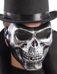 Silverfärgad mask skelett