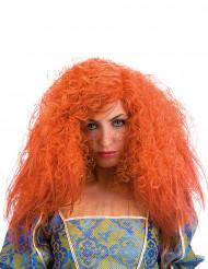 Lockig orange peruk