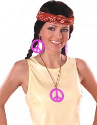 Rosa hippieörhängen och halsband