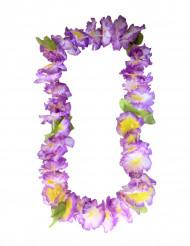 Lila Hawaiihalsband med blommor