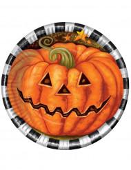 Kartongtallrik med pumpatryk till Halloween 23cm