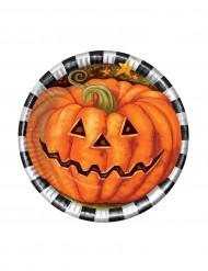 6 små tallrikar till Halloween med tryck av pumpa 18 cm