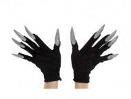 Svarta handskar med fast limmade silvriga naglar för vuxna