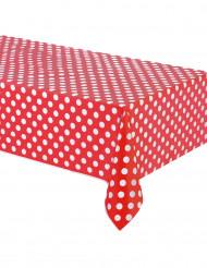 Röd plastduk med vita prickar 137 x 274 cm