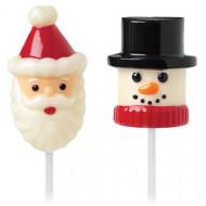 Marshmallowformar jultomte och snögubbe