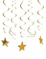 30 Hängande stjärnspiraler i guld till jul