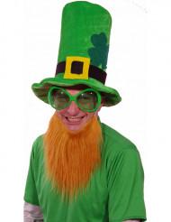 Grön St. Patrick´s Day mössa med skägg vuxen