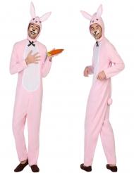 Maskeraddräkt rosavit kanin vuxen