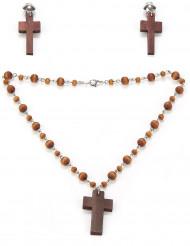 Set med religiösa halsband och örhängen