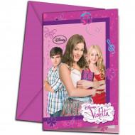6 inbjudningar med kuvert Violetta ™