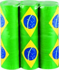 3 rullar med serpentiner i Brasiliens färger
