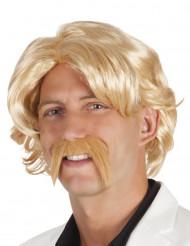 Blond peruk och mustasch