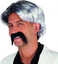 Grå peruk och mustasch