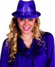 Lila paljett hatt