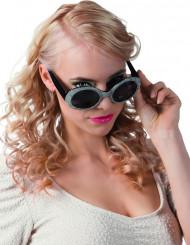 Svarta och silvriga disco glasögon