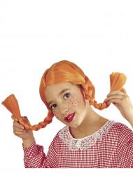 Peruk med orange flätor för barn