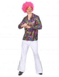 Multifärgad discoskjorta Vuxen